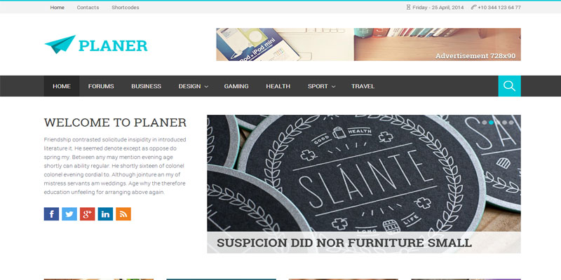Planer Responsive WordPress Magazine Theme : Themeforest - WpDil