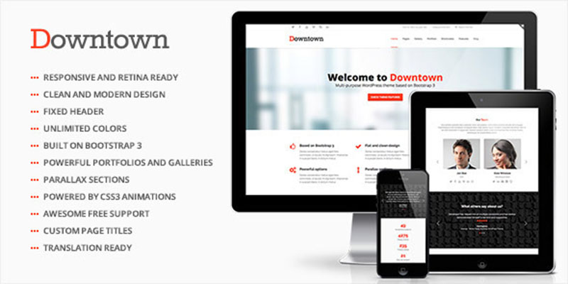 downtown, business, clean, corporate, creative, grid, isotope, jquery, masonry, modern, portfolio, responsive, seo, slider, wordpress theme