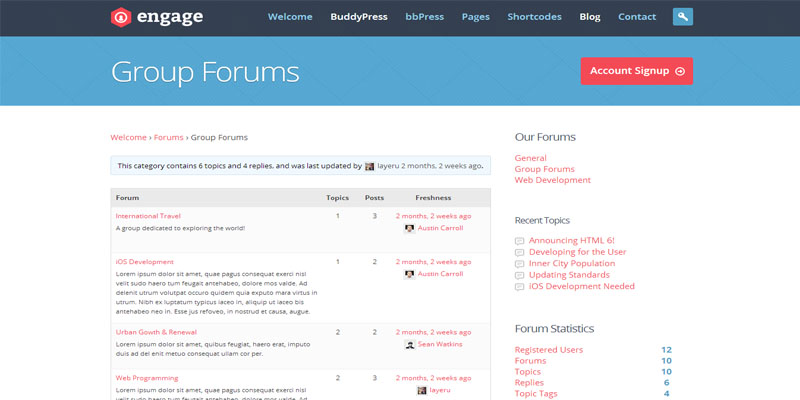 engage,buddypress,forum,bbpress,wordpress,theme